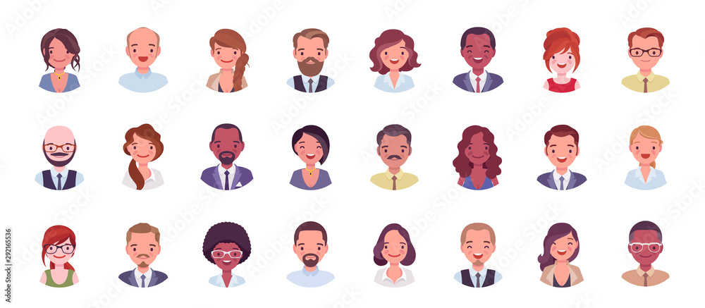 Fototapeta Business people avatar big bundle set. Businessmen and businesswomen face icons, character pic to represent online user in social net. Vector flat style cartoon illustration isolated, white background