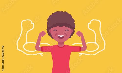 Vászonkép Strong black boy showing off biceps