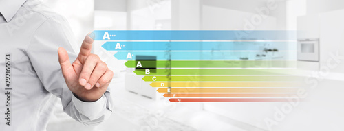energy efficiency hand touch screen with colored symbols on interior kitchen background web banner and copy space template - 292166573