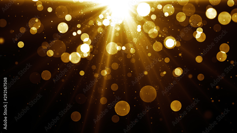 Fototapety, obrazy: Abstract glamour background for greetings and celebration. Star burst at the top with golden shiny particles. Magic lights and sparks.