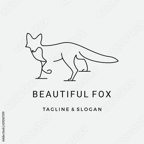 Modern Line art Fox logo design inspiration Canvas Print