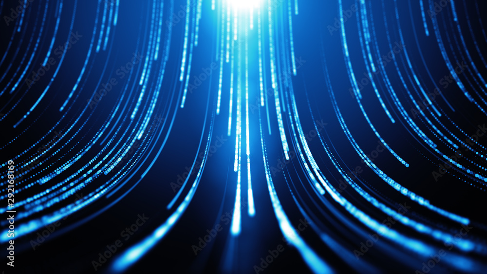 Fototapeta Striped creative texture of a cyber space. Technology pattern with bright particles. Abstract background. Bright beams falling down and light at the top. Digital data flow.