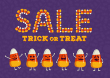 Happy Halloween Sale Typography Poster. Holiday Advertisement Lettering. Candy Corn Text Effect. Trick Or Treat Backdrop
