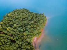 Drone Shot Over Trees At Lake ...