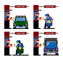 Drive Thru Icon Set, Motorcyle...