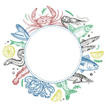 Fish And Seafood Round Frame For Menu