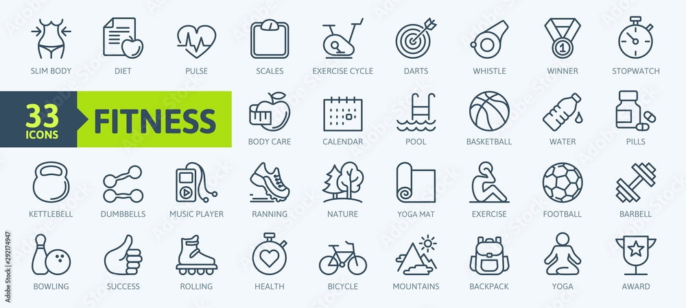 Fototapety, obrazy: Sport and fitness - minimal thin line web icon set. Outline icons collection. Simple vector illustration.
