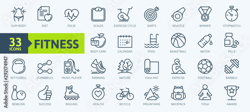 Fotografiet  Sport and fitness - minimal thin line web icon set