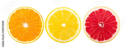 orange grapefruit lemon slice isolated on a white background. top view - 292176584