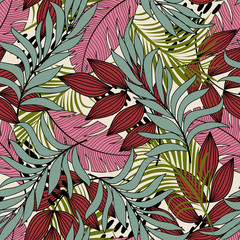 Fototapeta Do jadalni Abstract tropical seamless pattern with colorful leaves and plants and beautiful background. Summer colorful hawaiian seamless pattern with tropical plants. Hawaiian style. Exotic jungle wallpaper.