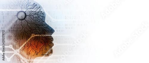 Obraz Artificial intelligence. Technology web background. Virtual concept - fototapety do salonu