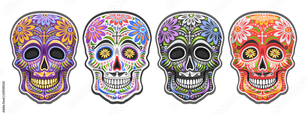 Fototapeta Vector set of Sugar Skulls for mexican Day of the Dead, collection of 4 cut out colorful human skulls with ethnic floral ornament for Dia de los Muertos carnival, cartoon smiling masks with mustache.