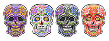 Vector Set Of Sugar Skulls For...