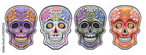 фотография Vector set of Sugar Skulls for mexican Day of the Dead, collection of 4 cut out colorful human skulls with ethnic floral ornament for Dia de los Muertos carnival, cartoon smiling masks with mustache