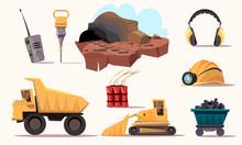 Mining Industry Flat Vector Illustrations Set