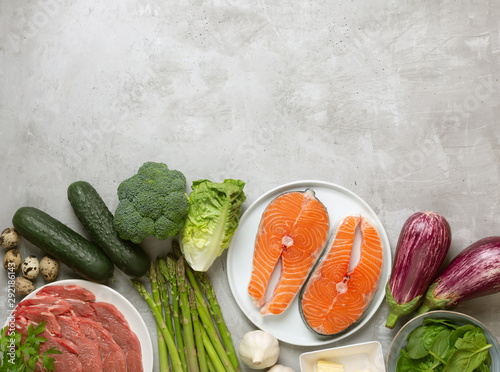 Atkins Diet food ingredients on concrete background, health concept, top view wi Wallpaper Mural