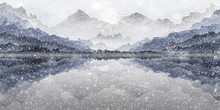 Landscape Illustration Of Mountain View In Snow Storm, With Refections On Lake.