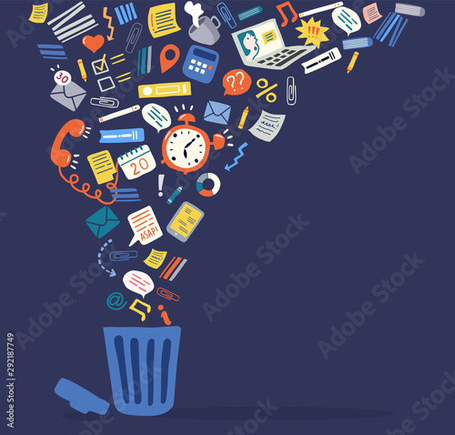 Cuadros en Lienzo  Trendy flat information icons going into a garbage basket
