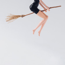 Halloween Witch Riding Broomst...