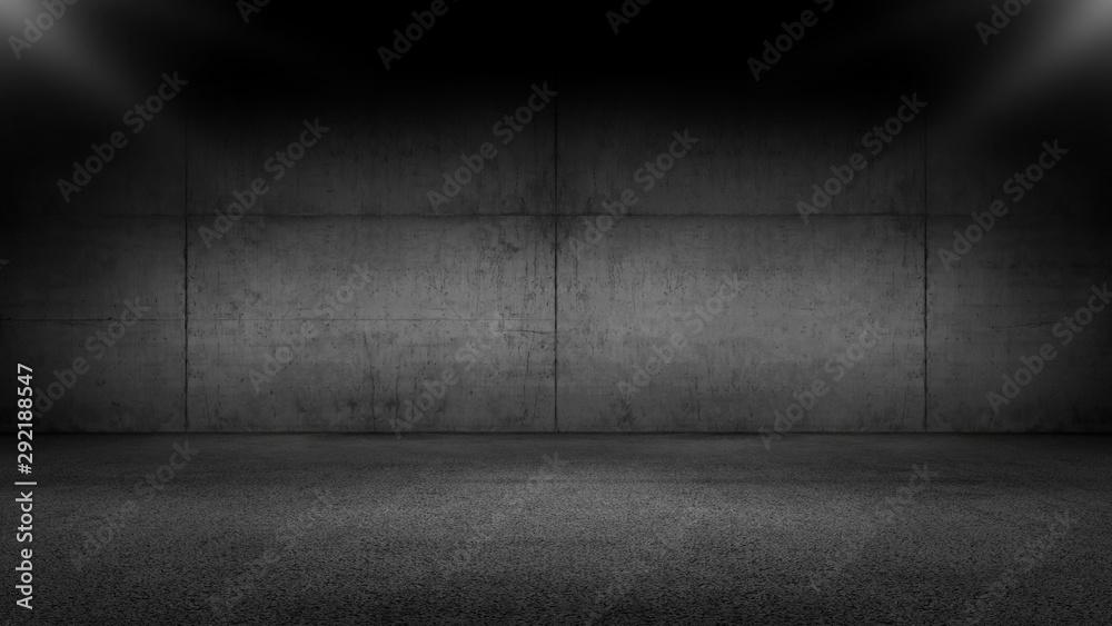 Fototapeta Black Floor Concrete Wall Garage Background with Spot Light
