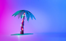 Neon Palm Tree With Christmas ...