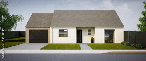 vue 3d maison de plain pied 1 Wallpaper Mural