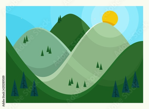 Vector illustration Flat Summer Mountains landscape with green hills and pines