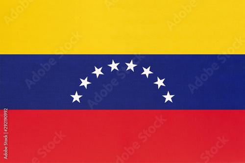 Photo sur Aluminium Amérique du Sud Venezuela national fabric flag textile background. Symbol of world south America country.