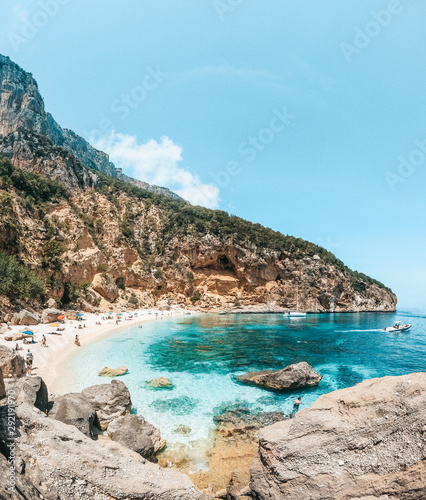 Foto op Aluminium Bleke violet Crystal clear waters of Cala Biriola in Sardinia, Italy
