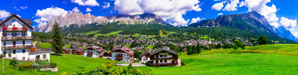 Fototapeta Panorama of Cortina d'Ampezzo- breathtaking mountain village and popular tourist resort in Dolomites Alps, Italy