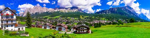 Foto auf AluDibond Himmelblau Panorama of Cortina d'Ampezzo- breathtaking mountain village and popular tourist resort in Dolomites Alps, Italy