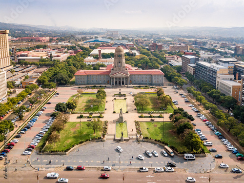 Aerial view of Tshwane city hall in the heart of Pretoria, South Africa Fotobehang