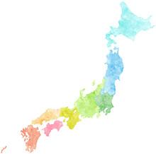 Watercolor Japan Map