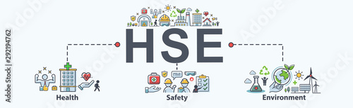 HSE - Health Safety Environment acronym Banner web icon for business and organization Wallpaper Mural