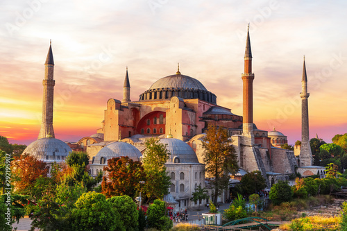 Tuinposter Oude gebouw Hagia Sophia, a famous sight of Istanbul, sunset view