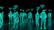 canvas print picture - Human Hologram of people connected, social networks