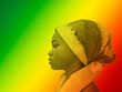 canvas print picture - Green, yellow and red portrait of a beautiful girl wearing a headscarf, profile view