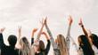 Youth fun. Spiritual freedom joy. Teen guys girls enjoying sunset with hands up in air.