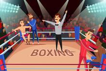 Professional Boxing Match Flat Vector Illustration