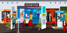 Business Exhibition Flat Vector Illustration