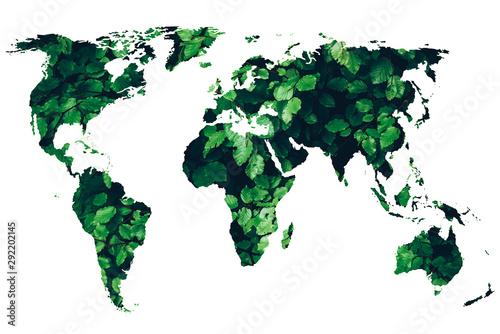 Fototapeta green world map - green renewable sustainable economy