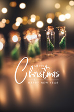 Close-up, Elegant Christmas Tree In Glass Jar Decoration. Merry Christmas And Happy New Year Concept.