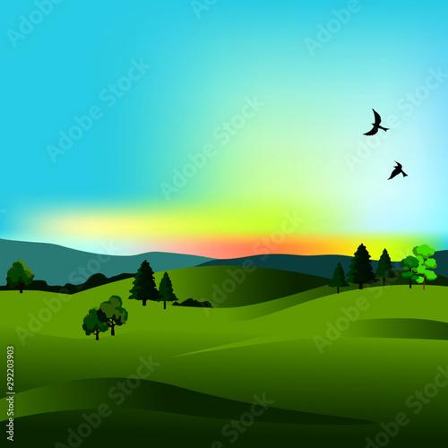 Foto auf Leinwand Turkis landscape view, field, tree, sky