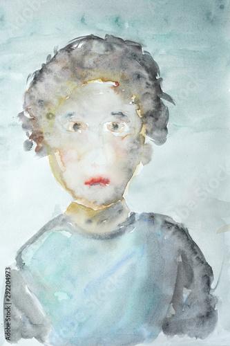 Türaufkleber Darknightsky Female portrait water color