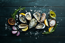 Fresh Oysters. Seafood. Top Vi...