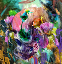 Beautiful Skull With Flowers A...