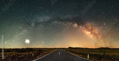 Poster Marron chocolat The Milky Way Arch above road. Long exposure, night landscape with Milky Way Galaxy. Amazing astrophotography. Universe, astronomy and astrophotography. Mountains of Madeira Island, Portugal.