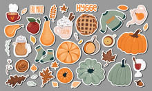 Set Of Thanksgiving, Autumn, Cozy Stickers, Badges, Magnets, Lables And Other. Vector Illustration EPS 10