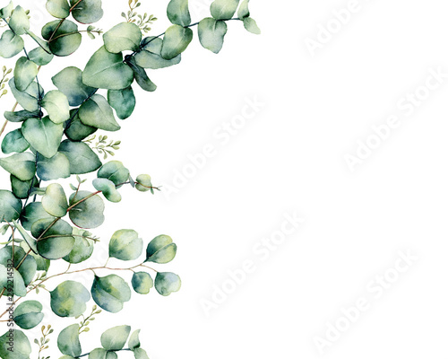 Watercolor card with eucalyptus bouquet. Hand painted eucalyptus branches and leaves isolated on white background. Floral illustration for design, print, fabric or background.