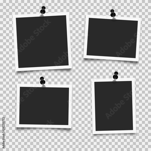 Set of empty photo frames with push pins Wall mural
